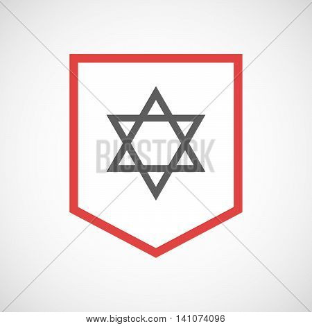Isolated Line Art Ribbon Icon With A David Star