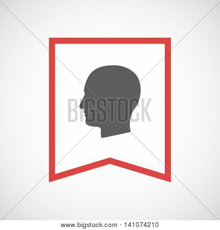 Isolated Line Art Ribbon Icon With A Male Head