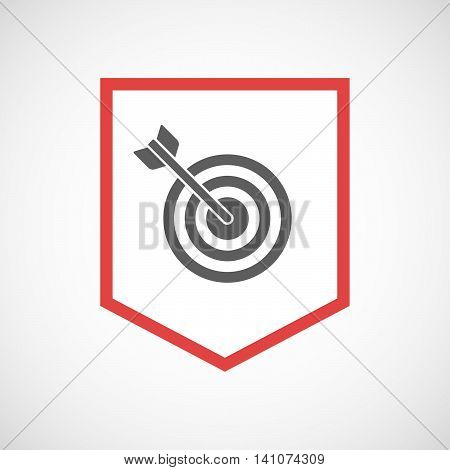 Isolated Line Art Ribbon Icon With A Dart Board