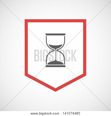 Isolated Line Art Ribbon Icon With A Sand Clock