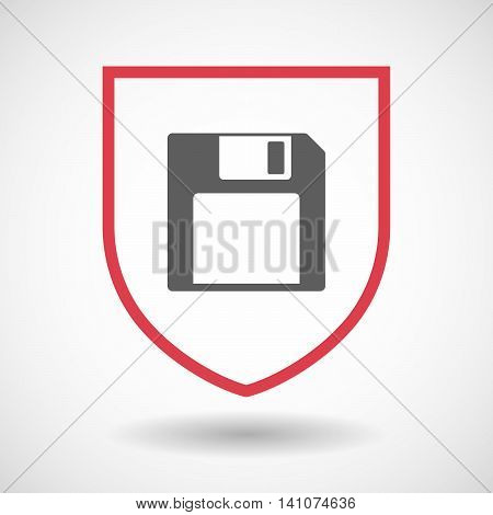 Isolated Line Art Shield Icon With A Floppy Disk
