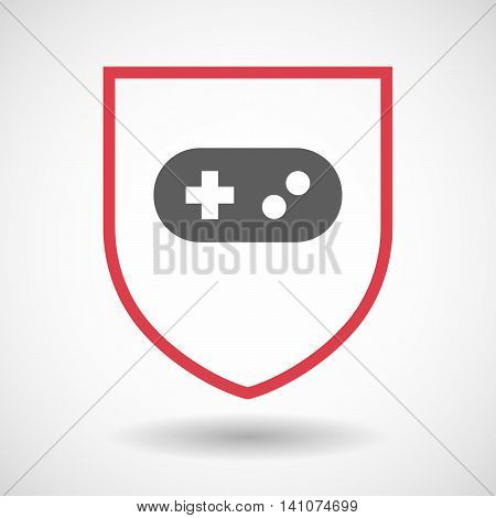 Isolated Line Art Shield Icon With A Game Pad