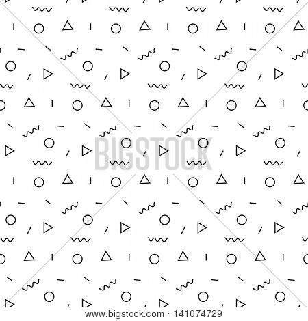 Seamless abstract geometric pattern in retro memphis style
