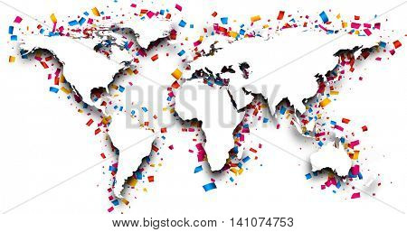 3d world map with colour confetti. Vector paper illustration.