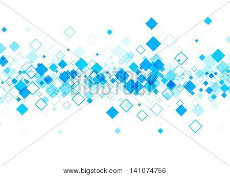 White background with blue rhombs. Vector paper illustration.