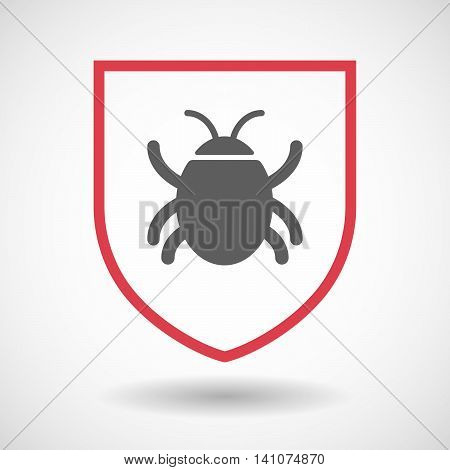 Isolated Line Art Shield Icon With A Bug