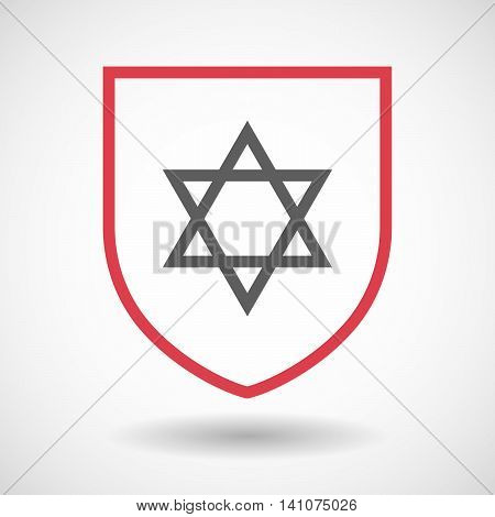 Isolated Line Art Shield Icon With A David Star