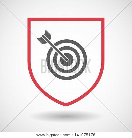 Isolated Line Art Shield Icon With A Dart Board