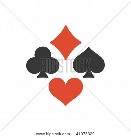 Vector Four playing cards suits symbols, spades, hearts, clubs and diamonds