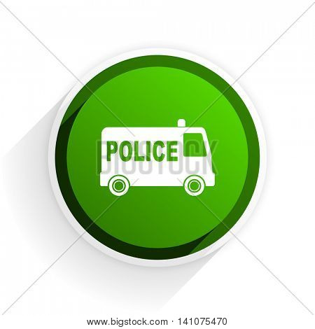 police flat icon with shadow on white background, green modern design web element