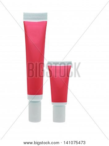Isolated red cosmetic tube on white with clipping path