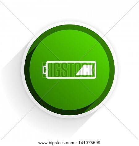 battery flat icon with shadow on white background, green modern design web element