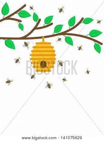Illustration of beehive on a branch with bees