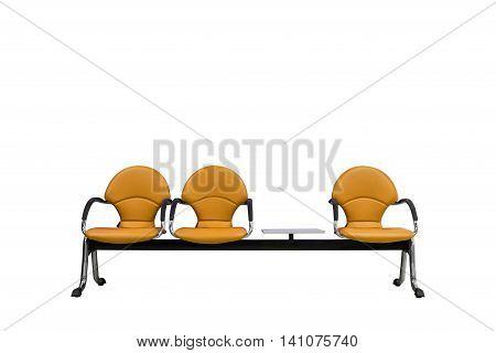 Isolated Orange Modern Seats On White