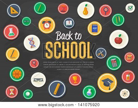 Back to school background. Education concept. Back to school banner. School flat vector icons. Back to school lettering. Concepts for web banners. Arts and science background. School symbols. Knowledge sign.