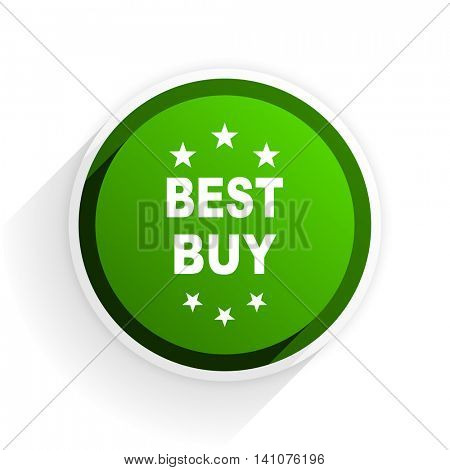 best buy flat icon with shadow on white background, green modern design web element