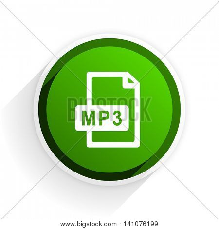 mp3 file flat icon with shadow on white background, green modern design web element