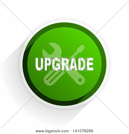 upgrade flat icon with shadow on white background, green modern design web element