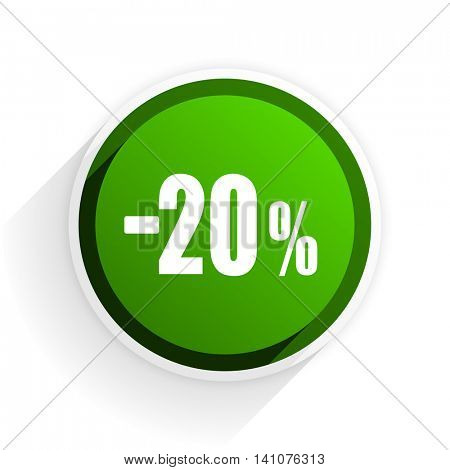 20 percent sale retail flat icon with shadow on white background, green modern design web element