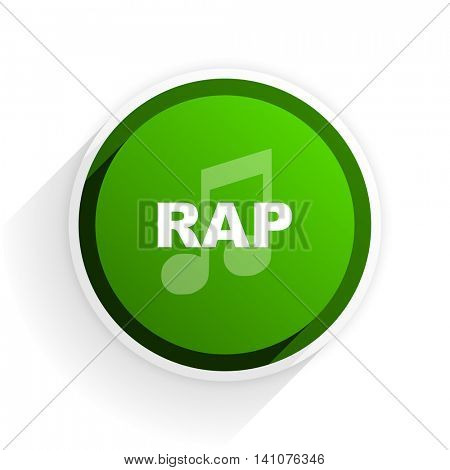 rap music flat icon with shadow on white background, green modern design web element