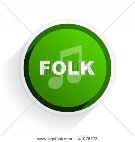 folk music flat icon with shadow on white background, green modern design web element