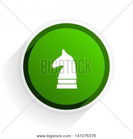 chess horse flat icon with shadow on white background, green modern design web element