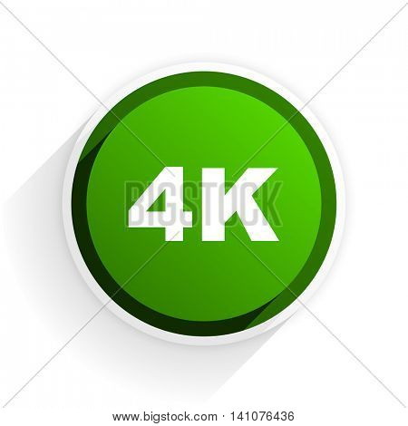 4k flat icon with shadow on white background, green modern design web element