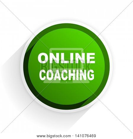 online coaching flat icon with shadow on white background, green modern design web element