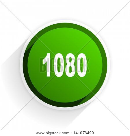 1080 flat icon with shadow on white background, green modern design web element