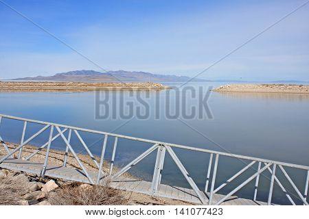 Pontoon by the harbour of Antelope Island, Utah