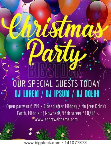 Christmas party lettering. Poster design template with balloons, confetti and fir sprigs. Handwritten text. Holiday concept. Can be used for posters, banners, leaflets