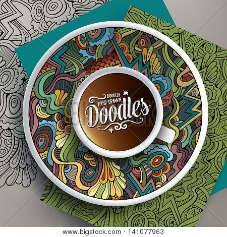 Vector illustration with a Cup of coffee and hand drawn Abstract doodles on a saucer, on paper and on the background