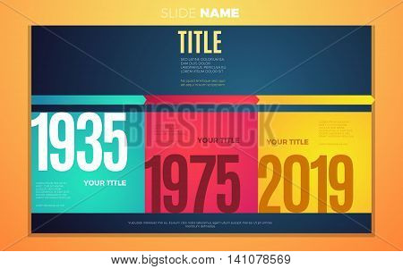 Bright contrast colors infographic with step by step years infographic chart boxes text and numbers. Vector creative modern eps10 illustration