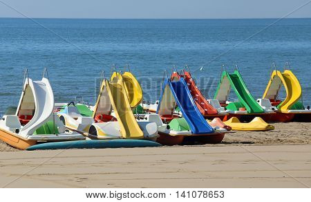 Pedal Boats On The Beach T In Summer