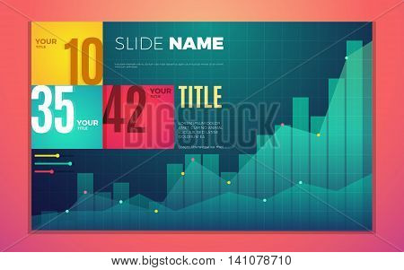 Bright contrast colors infographic set with progress chart boxes text and numbers. Vector creative modern eps10 illustration
