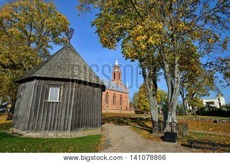 Old chapel of the old church in Kernave. Kernave was a medieval capital of the Grand Duchy of Lithuania and today is a tourist attraction.