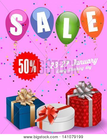 Sale lettering. Sale poster template with present boxes, balloons, confetti and star sign with discount percent. Sale concept. Can be used for posters, banners, leaflets