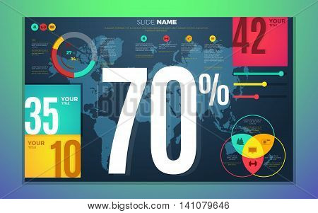 Bright contrast colors infographic set with charts map boxes and numbers. Vector illustration