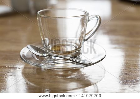 Empy Tea Cup On Saucer And Spoon