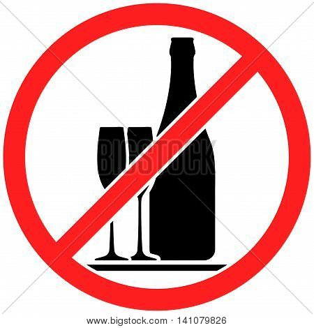 Prohibition sign icon no drinking alcohol with bottle and pair of wine glasses vector illustration