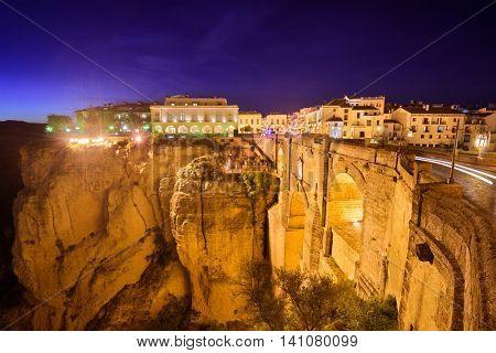 Ronda, Spain at Puente Nuevo Bridge at night.