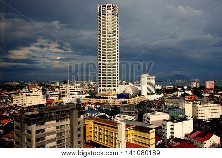 Georgetown Malaysia - January 8 2008: The 66-story Komtar Tower dominates the skyline of the city *
