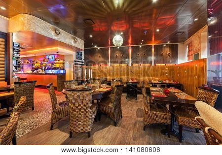 MOSCOW - JULY 2014: Interior of a luxury restaurant