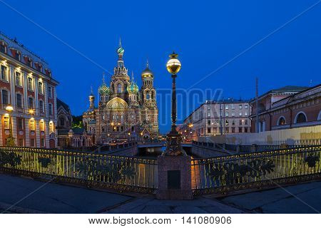 Church of the Saviour on Spilled Blood in white night St. Petersburg Russia