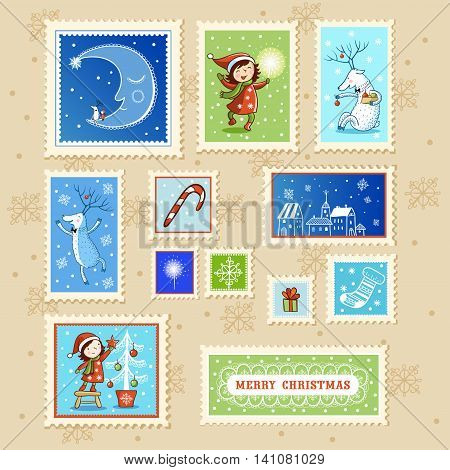 Beautiful Collections of Christmas Postmarks. Christmas card with textbox.