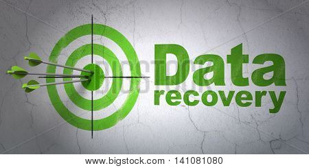 Success Information concept: arrows hitting the center of target, Green Data Recovery on wall background, 3D rendering
