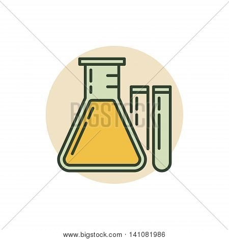 Chemical flask icon. Vector colorful laboratory glass symbol. Chemistry or biotechnology flat sign
