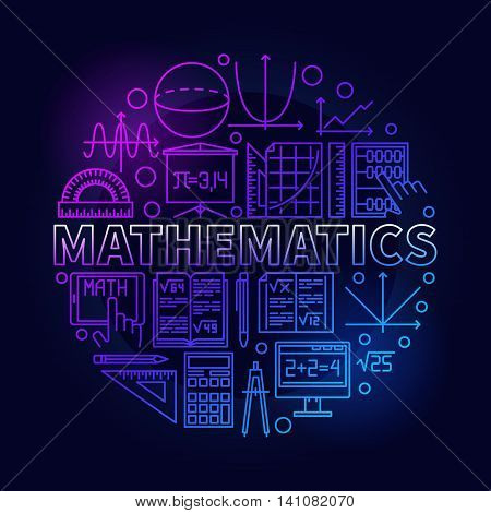Math linear symbol. Vector bright round school education mathematical symbol or circle background design