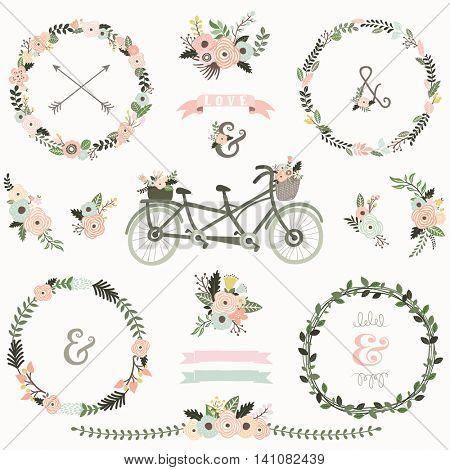 Vintage Floral Bicycles Elements