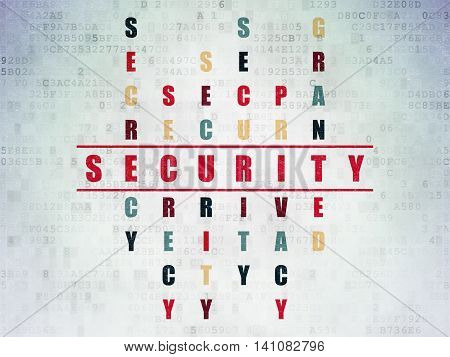 Security concept: Painted red word Security in solving Crossword Puzzle on Digital Data Paper background